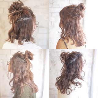 ハーフアップ ショート 夏 簡単ヘアアレンジ ヘアスタイルや髪型の写真・画像
