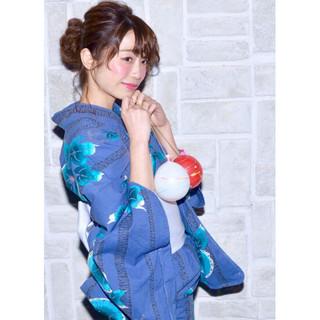 花火大会 お祭り 夏 ヘアアレンジ ヘアスタイルや髪型の写真・画像