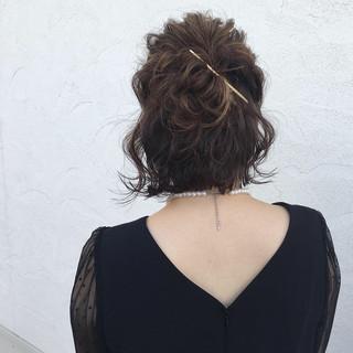 デート ボブ 簡単ヘアアレンジ 結婚式 ヘアスタイルや髪型の写真・画像