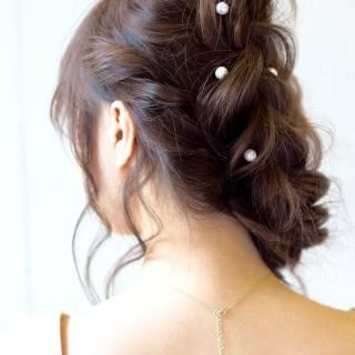 編み込み 抜け感 ナチュラル ヘアアレンジ ヘアスタイルや髪型の写真・画像