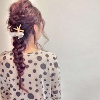 ロング 編み込み ゆるふわ ねじり ヘアスタイルや髪型の写真・画像 ヘアスタイルや髪型の写真・画像