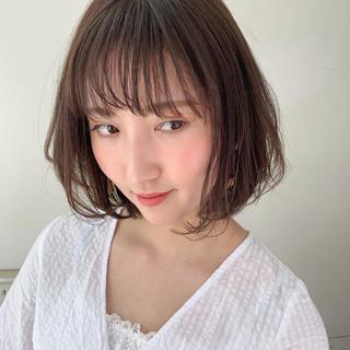 フェミニン シースルーバング モテボブ エアリー ヘアスタイルや髪型の写真・画像