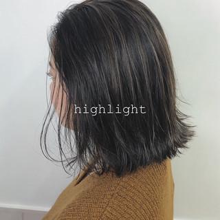 ミディアム コントラストハイライト ショートボブ 3Dハイライト ヘアスタイルや髪型の写真・画像