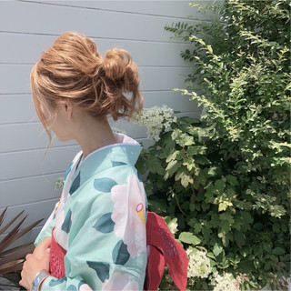 夏 花火大会 ガーリー ヘアアレンジ ヘアスタイルや髪型の写真・画像