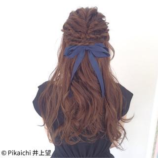 ゆるふわ 編み込み ハーフアップ ヘアアレンジ ヘアスタイルや髪型の写真・画像
