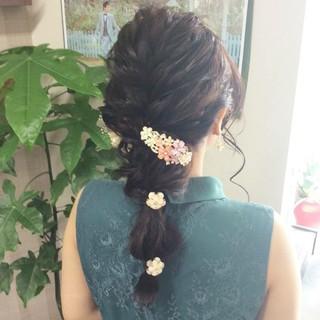 ヘアセット 編み込み セミロング 編み込みヘア ヘアスタイルや髪型の写真・画像