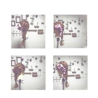 セミロング ゆるふわ 簡単ヘアアレンジ フェミニン ヘアスタイルや髪型の写真・画像