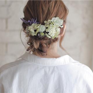 くせ毛風 ミディアム 結婚式 簡単ヘアアレンジ ヘアスタイルや髪型の写真・画像