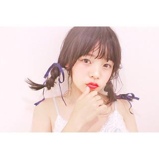 ヘアアレンジ ガーリー ミディアム おフェロ ヘアスタイルや髪型の写真・画像