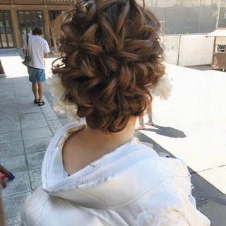 エレガント ヘアアレンジ 結婚式 セミロング ヘアスタイルや髪型の写真・画像