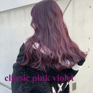 ラベンダーアッシュ ベリーピンク ロング ラベンダーピンク ヘアスタイルや髪型の写真・画像
