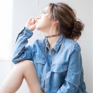 外国人風 メッシーバン 簡単ヘアアレンジ ショート ヘアスタイルや髪型の写真・画像