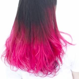 ガーリー グラデーションカラー ストリート ピンク ヘアスタイルや髪型の写真・画像
