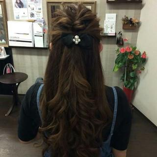ヘアアレンジ 結婚式 ハーフアップ ロング ヘアスタイルや髪型の写真・画像 ヘアスタイルや髪型の写真・画像