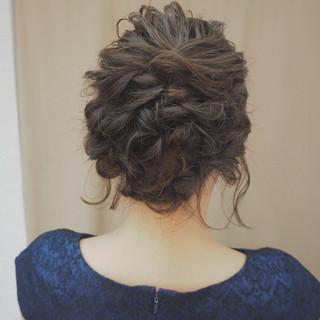 編み込み くるりんぱ ボブ ナチュラル ヘアスタイルや髪型の写真・画像 ヘアスタイルや髪型の写真・画像
