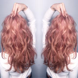 ロング ガーリー ミルクティー ピンク ヘアスタイルや髪型の写真・画像