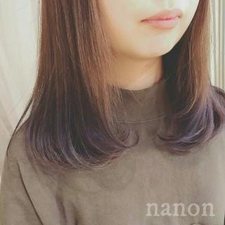 フェミニン ゆるふわ グラデーションカラー セミロング ヘアスタイルや髪型の写真・画像