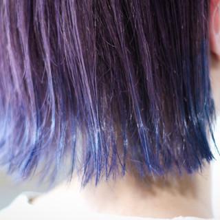 ボブ ネイビーブルー ブリーチカラー パープルカラー ヘアスタイルや髪型の写真・画像 ヘアスタイルや髪型の写真・画像