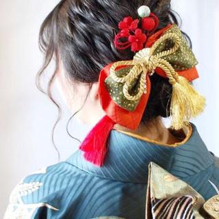 大人かわいい 和装ヘア ヘアアレンジ アンニュイほつれヘア ヘアスタイルや髪型の写真・画像