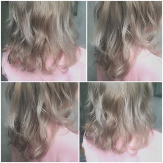 フェミニン ミディアム グラデーションカラー ゆるふわ ヘアスタイルや髪型の写真・画像