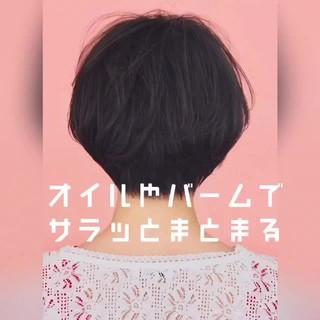 パーマ ニュアンスパーマ ショート 黒髪 ヘアスタイルや髪型の写真・画像