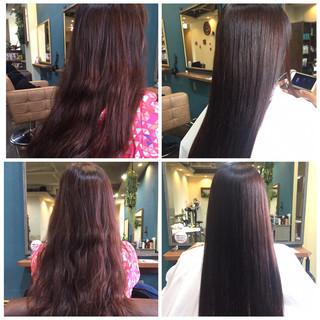 ストレート ベリーピンク パーマ 縮毛矯正 ヘアスタイルや髪型の写真・画像