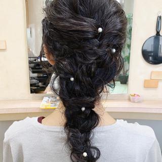 ゆるふわセット ガーリー ロング 編みおろし ヘアスタイルや髪型の写真・画像