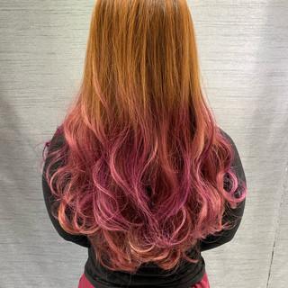 エレガント カラーバター ロング ピンクバイオレット ヘアスタイルや髪型の写真・画像