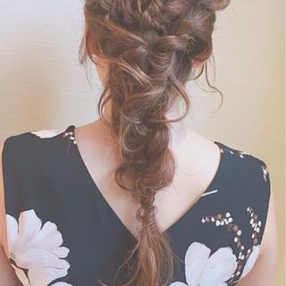 デート 結婚式 ヘアアレンジ 編み込み ヘアスタイルや髪型の写真・画像