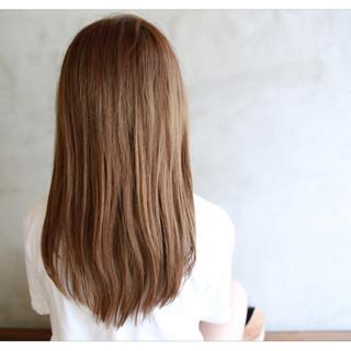 ストレート フェミニン 前髪あり セミロング ヘアスタイルや髪型の写真・画像