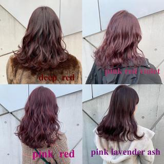 ピンクブラウン ピンクパープル ベリーピンク セミロング ヘアスタイルや髪型の写真・画像