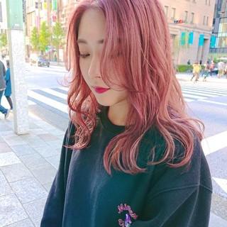 ピンク ヘアスタイル ガーリー イルミナカラー ヘアスタイルや髪型の写真・画像