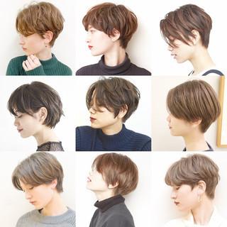 ショートボブ オフィス ナチュラル ハンサムショート ヘアスタイルや髪型の写真・画像