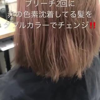 ミニボブ ブリーチカラー ボブ ピンクラベンダー ヘアスタイルや髪型の写真・画像
