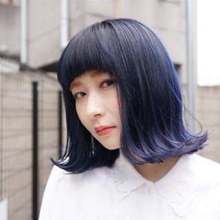 ボブ 外国人風 ブルー 切りっぱなし ヘアスタイルや髪型の写真・画像