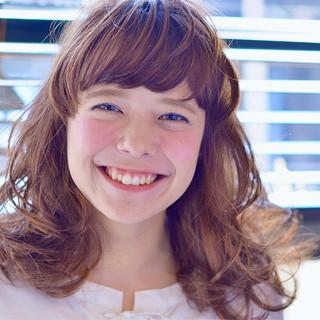 ガーリー ミディアム 前髪あり ゆるふわ ヘアスタイルや髪型の写真・画像 ヘアスタイルや髪型の写真・画像
