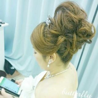 ゆるふわ セミロング ブライダル 結婚式 ヘアスタイルや髪型の写真・画像