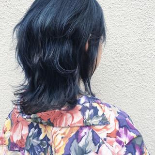 ミディアム ストリート レイヤーカット ダブルカラー ヘアスタイルや髪型の写真・画像