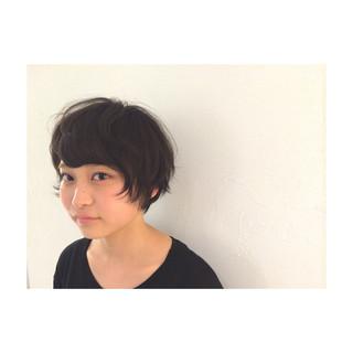 ショート 暗髪 黒髪 パーマ ヘアスタイルや髪型の写真・画像