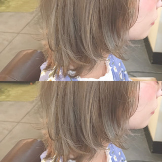 ボブ ベージュ フリンジバング 透明感 ヘアスタイルや髪型の写真・画像