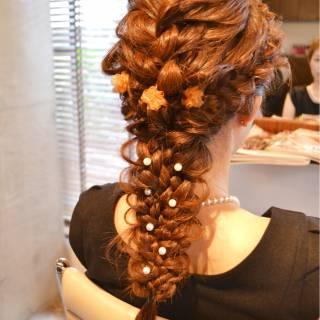 ロング 三つ編み ヘアアレンジ 結婚式 ヘアスタイルや髪型の写真・画像