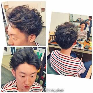 坊主 ショート パーマ ボーイッシュ ヘアスタイルや髪型の写真・画像