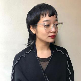モード ウルフカット 黒髪 ショート ヘアスタイルや髪型の写真・画像