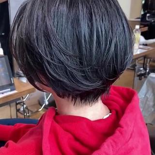 ナチュラル 前髪なし ショート 小顔ショート ヘアスタイルや髪型の写真・画像
