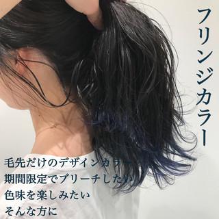 裾カラー ネイビー 暗髪 セミロング ヘアスタイルや髪型の写真・画像