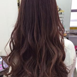 ナチュラル ピンクブラウン ロング かわいい ヘアスタイルや髪型の写真・画像