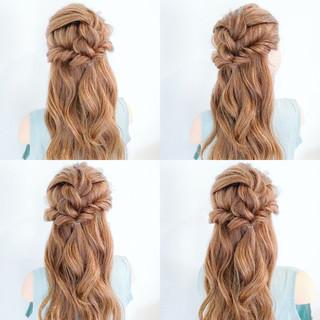 デート 結婚式 ロング 簡単ヘアアレンジ ヘアスタイルや髪型の写真・画像