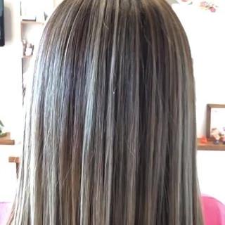 バレイヤージュ ミディアム 成人式 メッシュ ヘアスタイルや髪型の写真・画像