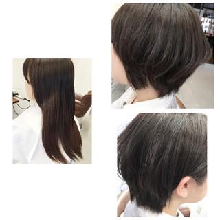 ショート 前髪あり アッシュ ナチュラル ヘアスタイルや髪型の写真・画像