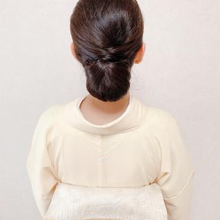 シニヨン 黒髪 ロング 訪問着 ヘアスタイルや髪型の写真・画像